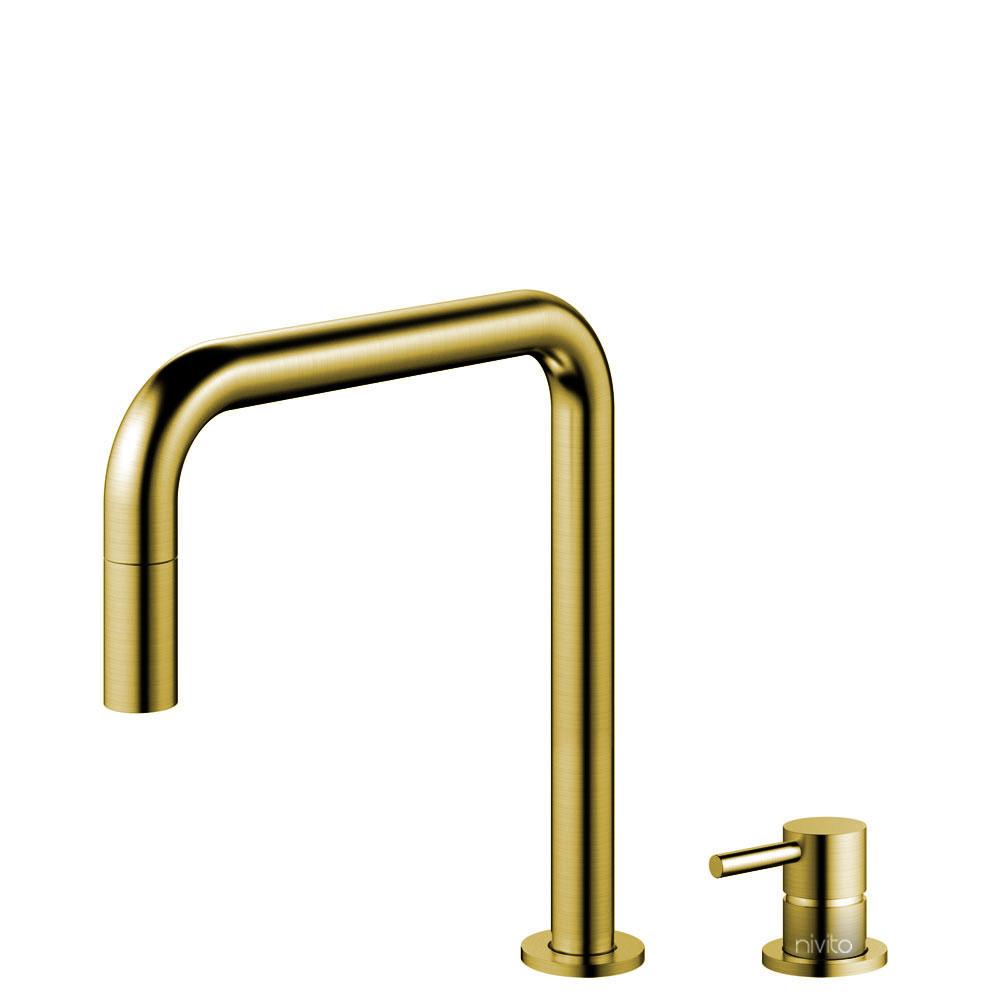 Messing/Gold Küche Wasserhahn Ausziehbarer Schlauch / Getrenntes Körper/Rohr - Nivito RH-340-VI